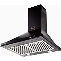 BLOWHOT 60 Cms Ariel Chimney 800 m3/h Suction, Push Control, Baffle Filter Chimney for Modular Kitchen (Black)