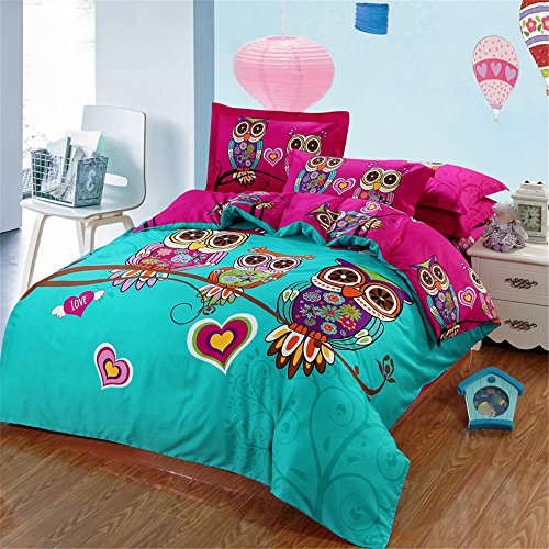 RFVBNM Baumwoll-Bettdecke-Abdeckung-Sätze 3D-Eule Muster drucken Baumwoll-1-Bett-Decke-Abdeckung 2St Shams bequeme Bettwäsche-Satz Hauptdekoration, kingin (Twin Rüschen-bett-satz)