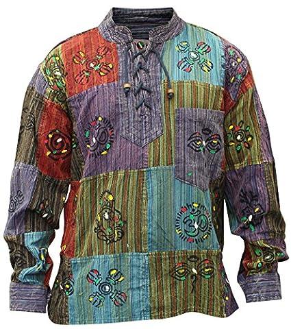 Shopoholic Fashion Mens Patchwork Stonewashed Hippie Shirt (M)