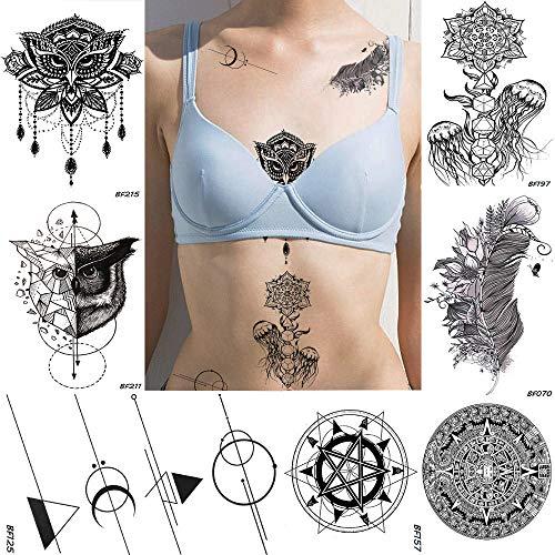 fkleber Henna Geometrische Eule Gefälschter Schmuck Temporäre Tätowierung Qualle Blume Wasserdicht Schwarz Tatoos DIY Kunst Frauen Tattoo Aufkleber 10,5X6 cm ()