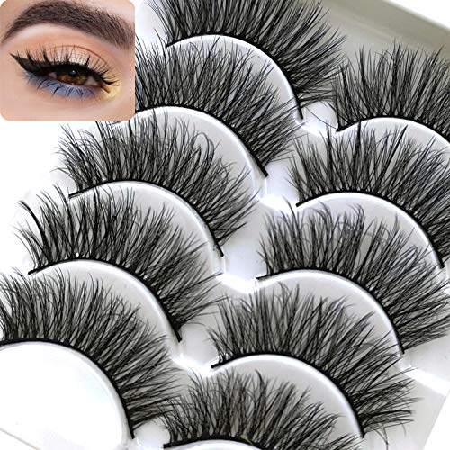 ICYCHEER Mixed 3D Künstliche Eyelasehs Volle Streifen Natürliche Lange Dickes Kreuz Lange Wispy Flauschige Dramatische Puppe Wimpern Cosplay 5 Paar Lashes Makeup (53) (Für Cosplay Make-up)