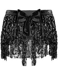 iixpin Mini Jupe Frange Femme Faux Cuir Sexy Paillettes Brillant Jupe  Bohême de Danse Rumba Zumba 132a86cb8d0