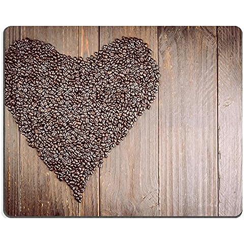 MSD-Tappetino per mouse in gomma naturale, gioco 34991789 foto ID: chicchi di caffè a forma di cuore su sfondo stile vintage con immagini di effetto