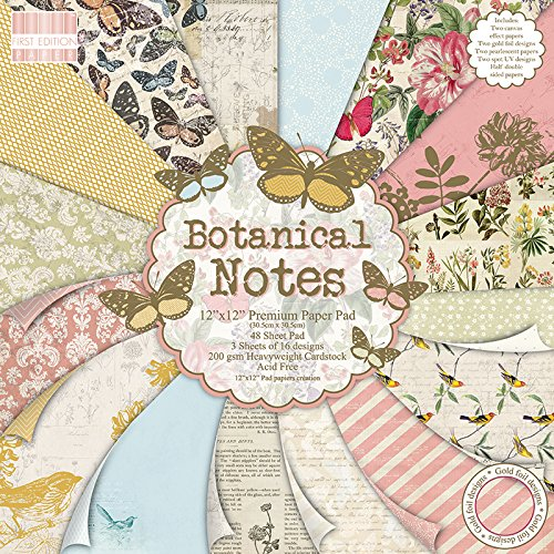 """First Edition Botanical Notes Premium Paper Pad 12""""x12"""" 48 Sheets (FSC)"""