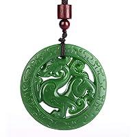 Yigedan - Amuleto con ciondolo in giada verde naturale