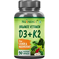 Nutrainix Organic Vitamin D3 with 55Mcg Supplement, Supports Heart & Bone Health - 90 Vegetarian Capsules