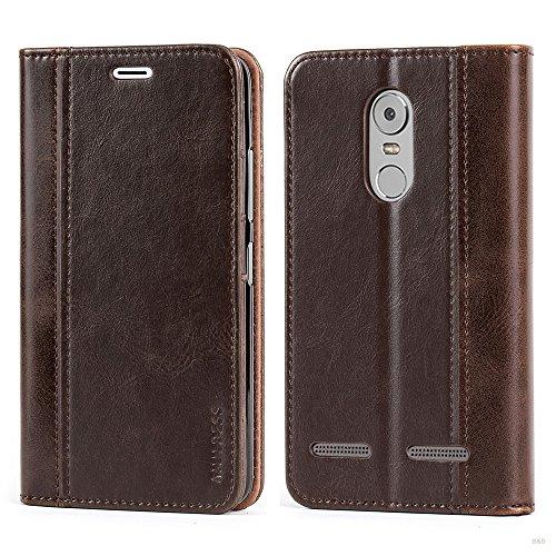 Mulbess Handyhülle für Lenovo K6 Hülle Leder, Wallet Case Leder Flip Schutzhülle für Lenovo K6 Tasche Bookcase, Coffee Braun