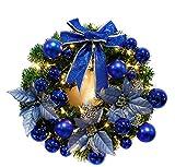 Brinny 30cm Weihnachtsdeko LED Weihnachtskranz Adventskranz Türkranz Kranz mit Blau Kugeln und Ball