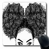 Luancrop Mousepads für Computer Frisur Braun Afro Schwarz Lockiges Haar Gesundheit Mädchen Afroamerikaner Ziemlich rutschfestes, längliches Gaming-Mauspad