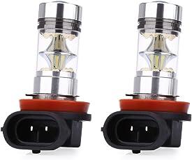 Zorbes Pair of Universal Car H11 100W 6000K LED Fog Lamp Daytime Running Pure White Light