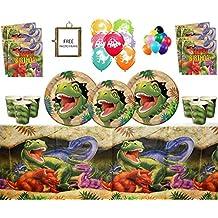 Artículos para Fiestas de Dinosaurios Celebraciones de Feliz cumpleaños de Dino Blast 16 Invitados- Vajilla