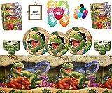 Dinosaurier Party Supplies Dino Blast Alles Gute zum Geburtstag feiern 16 Gäste - Dinosaurier Geschirr gedruckt Latex Balloons kostenlose Foto Frame & Balloons
