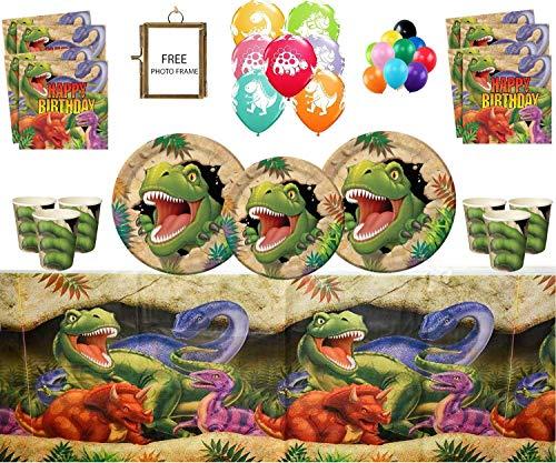 Artículos para Fiestas de Dinosaurios Celebraciones de Feliz cumpleaños de Dino Blast 16 Invitados- Vajilla de Dinosaurios Globos de látex Impresos Gratis Marco DE Fotos Y Globos