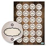 48 Stück runde Haushaltsetiketten blanko Aufkleber Etiketten zum Beschriften 4 cm oval beige braun natur vintage nostalgie selbstklebende Sticker f. Gewürze Gläser Gewürzetiketten leer beschreibbar