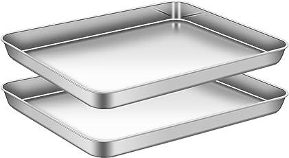 AEMIAO Edelstahl Tablett Backblech Ofenblech Cookie Pfanne Tablett Rechteckig