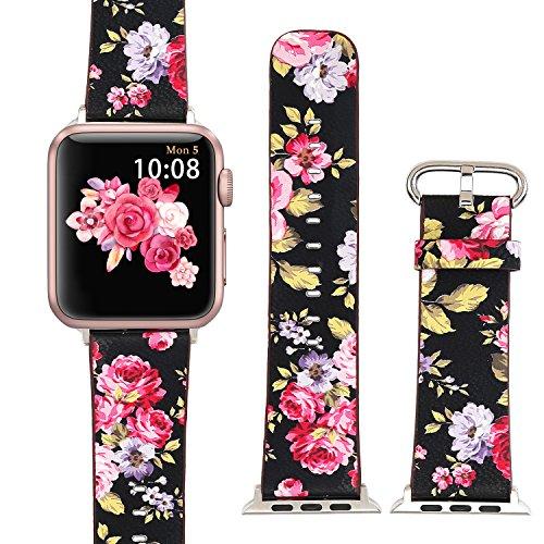 X-Cool für Apple Watch Lederarmband 38mm 40mm Schwarz Rot Blume für iwatch Series 4 3 2 1 für Damen -