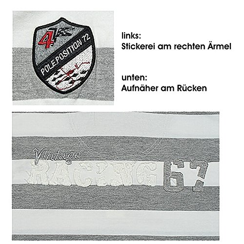 Jacky Ickx by Signum, langarm Polohemd Poloshirt, 396717, offwhite grau meliert [9622] Offwhite