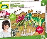 Lena 42644 - Bastelset Steckbausatz Dinos, mit 7 Steckteilen zum Zusammenbauen von einem T-Rex und Dinosaurier Stegosaurus, Steckspiel Set für Kinder ab 5 Jahre, Bausatz mit Anleitung zum Zusammenstecken von 2 Dinosaurier