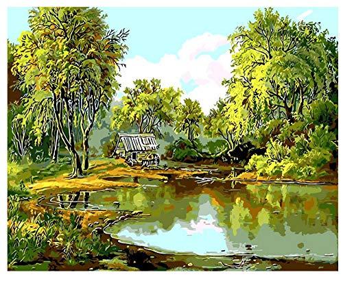 Menddy Green Spring Landschaft Ölgemälde Pond Willow by Numbers Digitale Zeichnung Färbung Einzigartiges Geschenk Wohnzimmer Dekor No Frame 40x50cm - Willow Pond