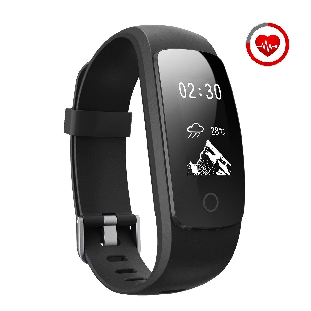 Activity Tracker IP67, Mpow Orologio Cardiofrequenzimetro Contapassi da Polso Donna, Bracciale Fitness Tracker Uomo Fit Watch Calorie Pedometro IP67 per Outdoor Corsa e Ciclismo per iOS Android, Nero