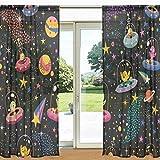 ALAZA Nett UFO Doodle Weltraum Printed Sheer Fenster und Tür-Vorhang 2 Panels 55
