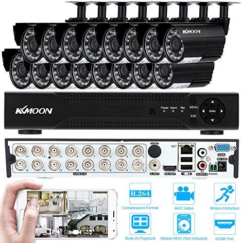 KKmoon-Kit-Sistema-de-Vigilancia-16-Canal-720P-AHD-DVR-HDMI-16x-Cmara-Bala-IR-cut-Visin-Nocturna-Deteccin-de-Movimiento-Seguridad-Hogar