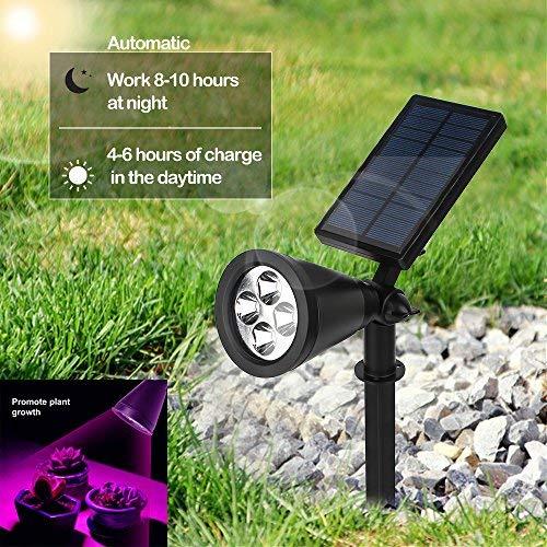Quner Solar LED Pflanzenlampe Wachstum, mit 16 LED Pflanzenlicht Einstellbare Flexible 90 Grad  Solarleuchte für Garten, Gewächshaus, Saatgut, Blumen, Gemüse