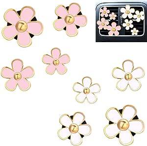 DEDC 8 pz Clip di Auto Presa Aria Deodorante Disegno Fiori Margherita Auto Presa Aria Fermagli Decorazione Accessori Bianco e Rosa