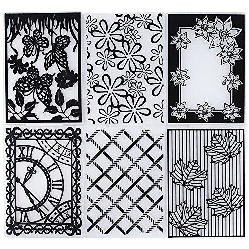 6pcs Carpetas de Relieve Estampado Estampación Plantilla Repujado Flor Plástico Molde Decoración...