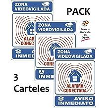 Pack de 3 carteles disuasorios A4 interior/exterior PREMIUM y ULTRA-resistentes (METALICOS)