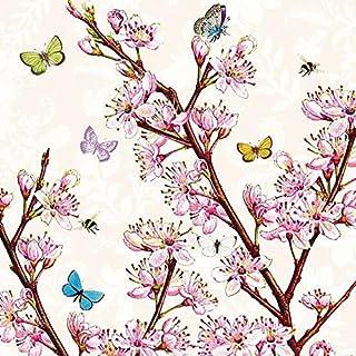 Ambiente Napkin 33 Centimeter Blossom and Butterflies Cream Floral Serviettes