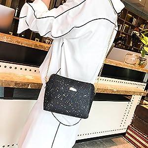 61SJP815OjL. SS300  - Bolsos de Hombro Casual con Lentejuelas y Conchas de Las Mujeres Paquete de Cuero Pequeño de Moda Bolsos Totes de…