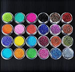Liroyal 24pcs multi-color nail flash powder