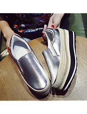 KPHY-La nueva caída de la Hembra solo zapatos gruesos versión coreana de la paja Bizcocho de Sisal El Lazy Bones...