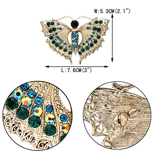 EVER FAITH® Full Cristal Autrichien Insect Papillon Aimable Broche Pin Vert, Doré