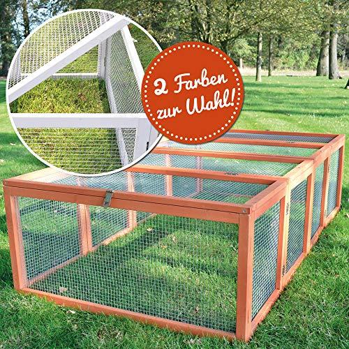 zooprinz Freilaufgehege Rabbit Run 2020 für draußen - ideal für Kleintiere - Besonders Stabiler und großer Holzrahmen - Mobiler Freilauf mit umweltfreundlicher Farbe lasiert in Rot-Braun