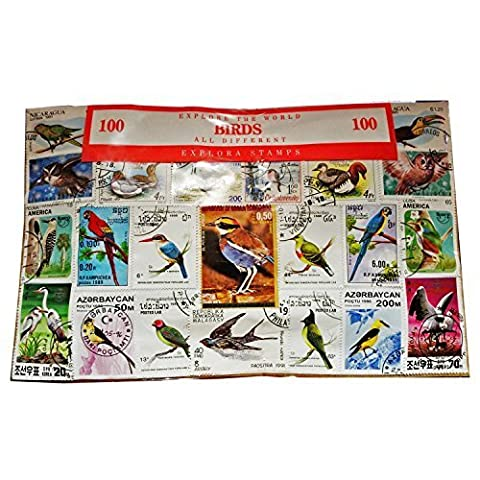 Worldwide Bird Birds Stamp Collection Souvenir! Ornithology / Owls / Parrots 100 Stamps - All Different! Souvenir / Speicher / Memoria! Highly Collectible Stamps! Collectible Stamps from Around the World! Timbre / Stempel / Francobollo / Sello!