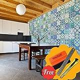Walplus Entfernbarer selbstklebend Wandkunst Aufkleber Vinyl Wohndeko DIY Wohnzimmer Schlafzimmer Küche Dekor Tapete Englisch Spruch Marokkanische himmelblau grün Fliesen Wand Sticker 48 stk. 15cm x