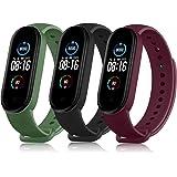 Wanme 3 Bandjes compatibel met Xiaomi Mi Band 5 Mi Band 6 Bandje, Polsband voor Horlogeband Accessoires Mi Band 5 (niet gesch
