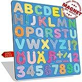 Alphabet magnete Modell Pfad in Blau | Magnetbuchstaben | ABC Deutsches Alphabet |Ä|Ü|Ö|ß| Magnetische Buchstaben und Zahlen aus PLEXIGLAS | ABC Lernspielzeug für Kinder ab 3 Jahre | Premium-Qualität Geschenk | Puzzle Set