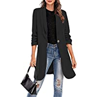 MIEAHORY Womens Casual Blazer Coat Jacket Adults Long Sleeve Solid Color Long Blazer Button Pocket Outwear Streetwear