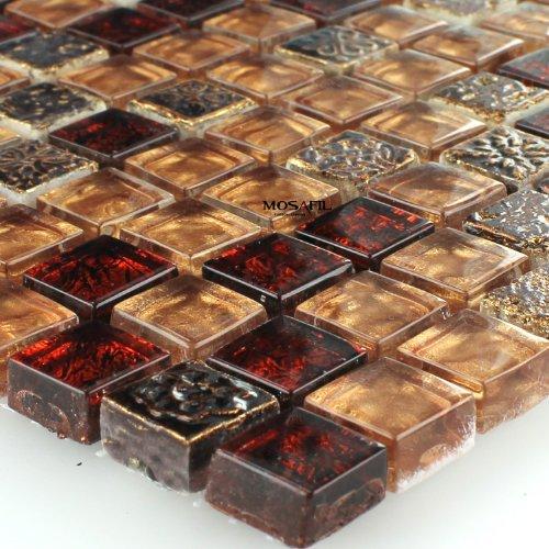 Glas Naturstein Quarzit Mosaik Fliesen Rot Bronze