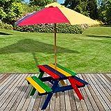 Marko Outdoor Marko Kids Children Garden Picnic Table Bench Parasol Umbrella Set Rainbow Wood