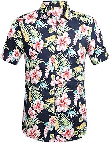 SSLR Herren Hawaiihemd Kurzarm Blumen 3D Gedruckt Baumwolle Freizeithemd Button Down Aloha Shirt für Reise Strand (Medium, Navy) (Shirt Aloha Navy)