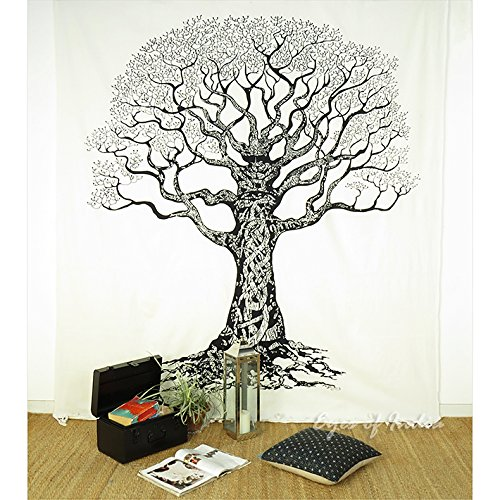 EYES OF INDIA - QUEEN WHITE HIPPIE INDIAN MANDALA TREE LIFE TAPESTRY HANGING Picnic Bohemian Dec