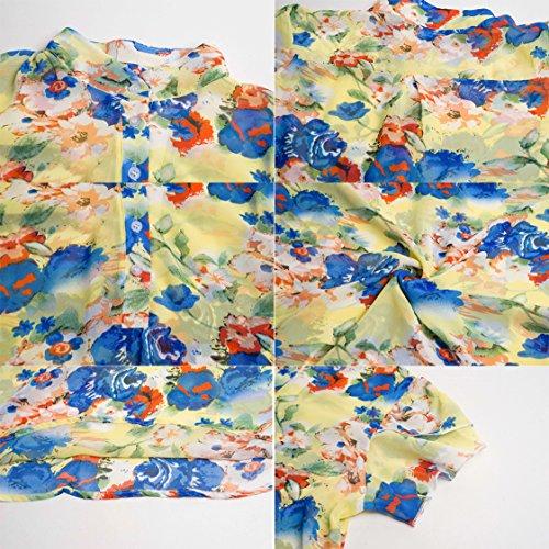 Sommer Damen Tshirt Mode Reizvolle Stehkragen Oberteile Kurzärmlig Hemden  Blumen Druck Top Druckknopfverschluss Blouse Freizeit Blusen Gelb