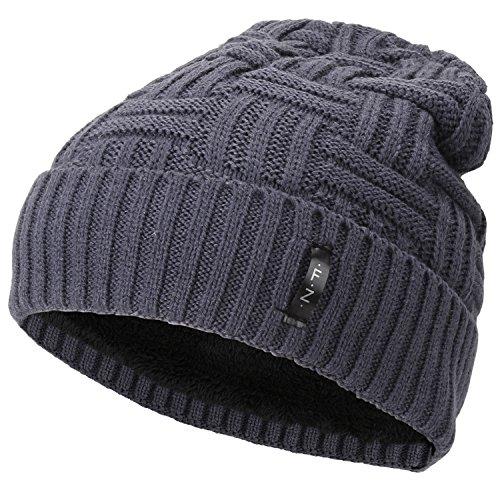 Magic Zone Unisex Warm Wintermütze Strickmütze Beanie Cuff Beanie Mütze - Einheitsgröße (Beanie Cuff Hut Stricken)