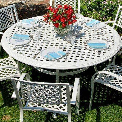 Weißes Valerie 150cm Rundes Gartenmöbelset Aluminium - 1 Weißer VALERIE Tisch + 6 Weiße APRIL Stühle