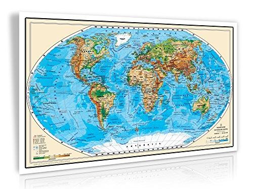 XXL/1,38 Meter - 3D Relief Optik - Original handgezeichnete Relief Weltkarte - antireflex-entspiegelt laminiert (riesen große Poster Wandkarte, Weltkarte, Großformat) (Große Laminierte Weltkarte)
