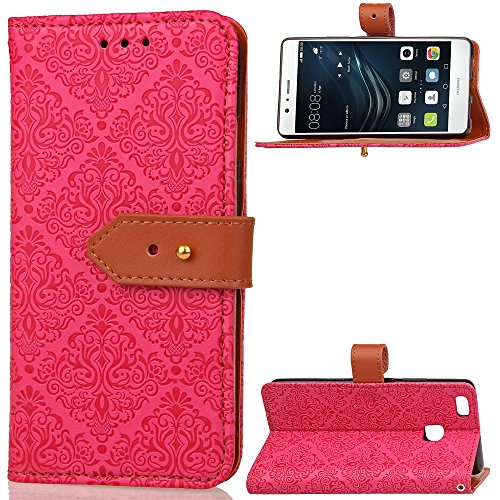 GHC Cases & Covers, Für Huawei P9 Lite Fall, European Kamin Royal geprägt Blumenmuster Horizontale Flip Stand PU Ledertasche mit seitlichen Schnalle & Cash Card Slots (Color : Rose) (Geprägte Kamin)
